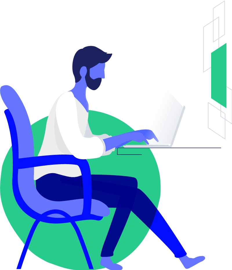 Vector of Man working on Laptop computer